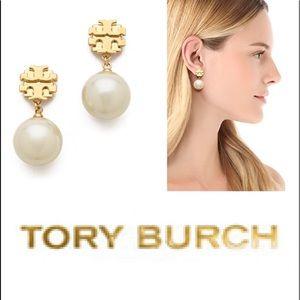 NWT Authentic Tory Burch pearl drop logo earrings